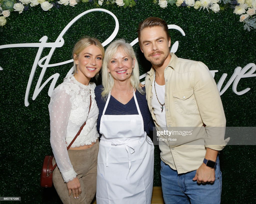 Julianne Hough, mother Marriann Nelson and Derek Hough attend the Paint & Sip & Help event to Benefit Children's Hospital Los Angeles hosted by The Grove on October 12, 2017 in Los Angeles, California.