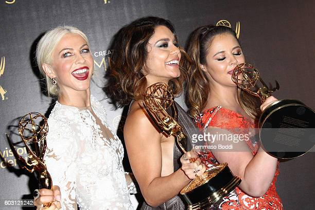 Julianne Hough Vanessa Hudgens and Kether Donohue pose in the press room at the 2016 Creative Arts Emmy Awards held at Microsoft Theater on September...