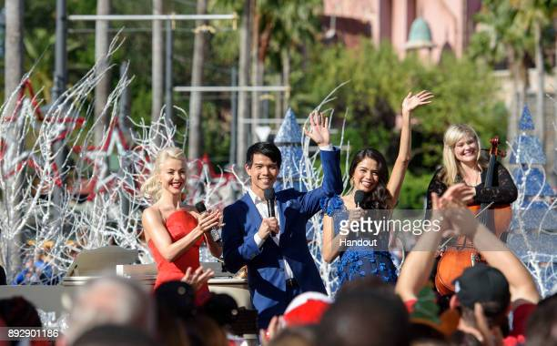 Julianne Hough welcomes musical actors Telly Leung and Arielle Jacobs of Broadway's Aladdin November 3 during a taping of Disney Parks Magical...