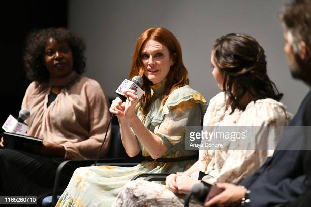 """Julianne Moore and Abby Quinn at Film Independent presents """"After The Wedding"""" at The Landmark on July 30, 2019 in Los Angeles, California."""