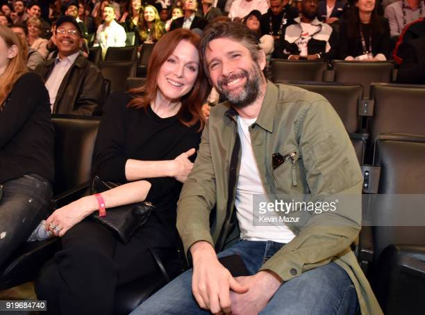 Julianne Moore and Bart Freundlich attend the 2018 State Farm AllStar Saturday Night at Staples Center on February 17 2018 in Los Angeles California