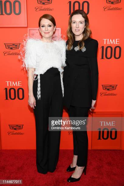 Julianne Moore and Clare Waight Keller attend the TIME 100 Gala 2019 Lobby Arrivals at Jazz at Lincoln Center on April 23 2019 in New York City