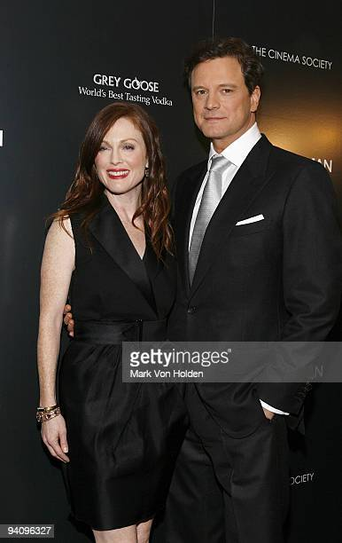 """Julianne Moore and Colin Firth attend a screening of """"A Single Man"""" hosted by the Cinema Society and Tom Ford at The Museum of Modern Art on December..."""