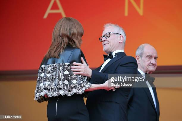 Julianne Moore and General Delegate Thierry Fremaux attend the screening of Les Miserables during the 72nd annual Cannes Film Festival on May 15 2019...