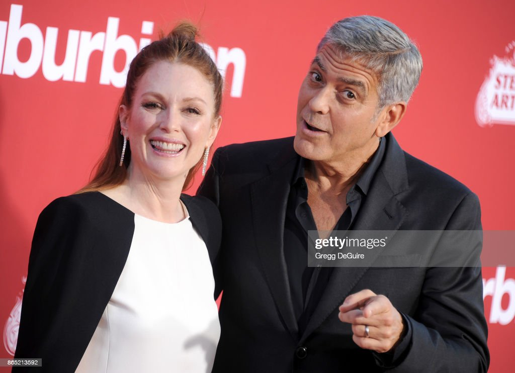 Julianne Moore and George Clooney arrive at the premiere of Paramount Pictures' 'Suburbicon' at Regency Village Theatre on October 22, 2017 in Westwood, California.