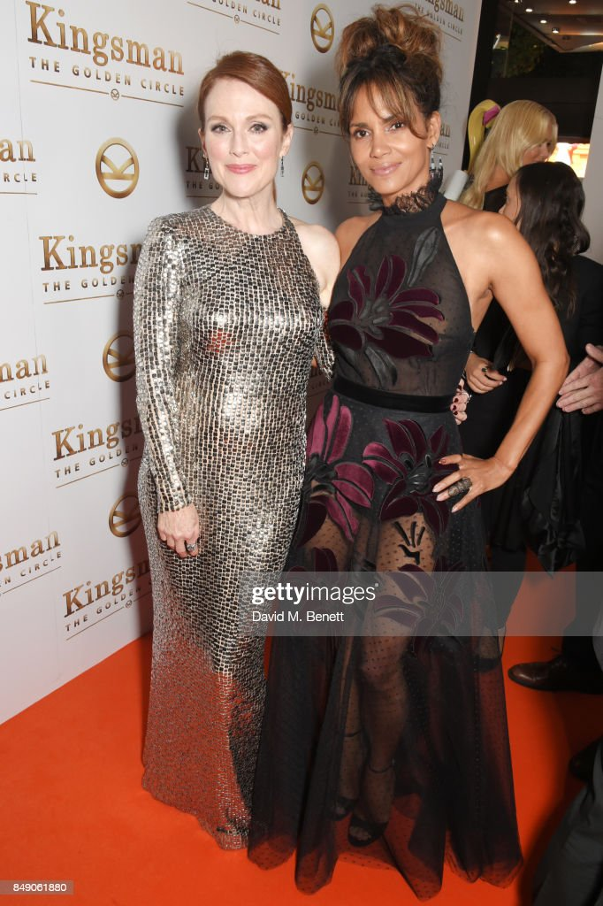 Julianne Moore (L) and Halle Berry attend the World Premiere of 'Kingsman: The Golden Circle' at Odeon Leicester Square on September 18, 2017 in London, England.
