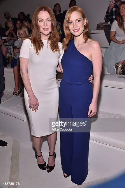 Julianne Moore and Jessica Chastain attend Ralph Lauren Spring 2016 during New York Fashion Week The Shows at Skylight Clarkson Sq on September 17...