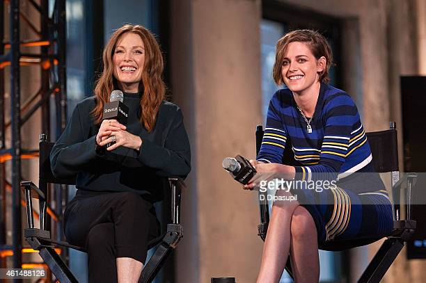 Julianne Moore and Kristen Stewart attend AOL's BUILD Speaker Series: Julianne Moore And Kristen Stewart at AOL Studios In New York on January 13,...