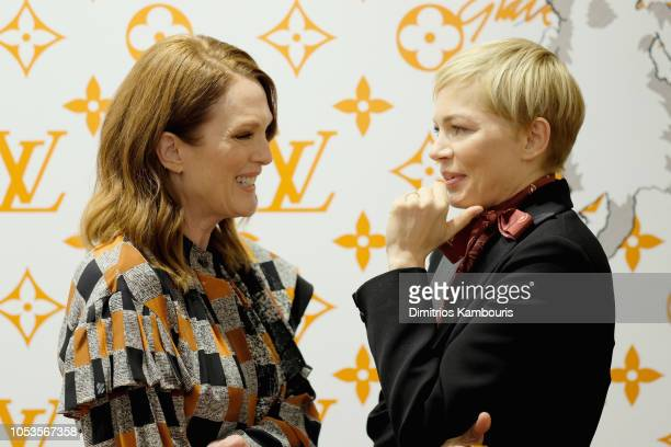 Julianne Moore and Michelle Williams attend the Louis Vuitton X Grace Coddington Event on October 25 2018 in New York City