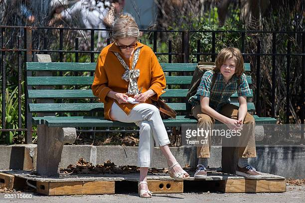 Julianne Moore and Oakes Fegley are seen on the film set of Wonderstruck on May 20 2016 in New York City