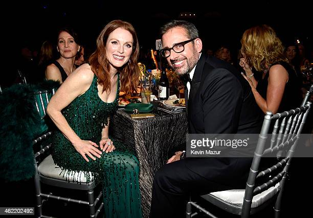 Julianne Moore and Steve Carell attend TNT's 21st Annual Screen Actors Guild Awards at The Shrine Auditorium on January 25 2015 in Los Angeles...