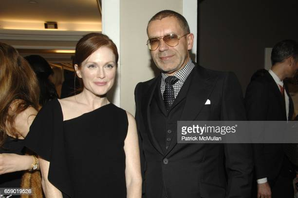 Julianne Moore and Tomas Maier attend The WORLD of BOTTEGA VENETA Cocktail Party at Bergdorf Goodman on April 14 2009 in New York City