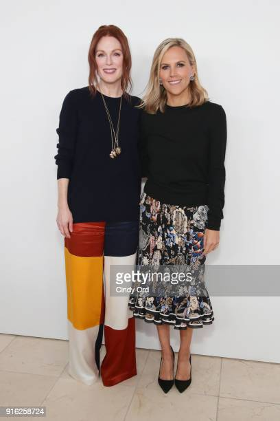 Julianne Moore and Tory Burch attend the Tory Burch Fall Winter 2018 Fashion Show during New York Fashion Week at Bridge Market on February 9 2018 in...