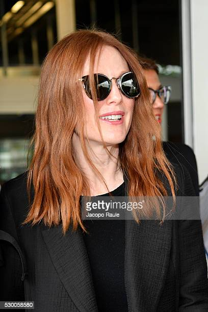 Julianne Moore arrives at Nice airport during the annual 69th Cannes Film Festival at Nice Airport on May 10 2016 in Nice France