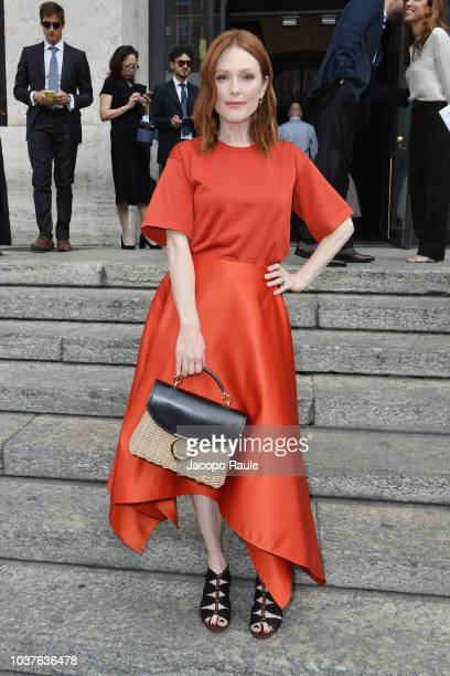 Julianne Moore arrives at the Salvatore Ferragamo show during Milan Fashion Week Spring/Summer 2019 on September 22 2018 in Milan Italy