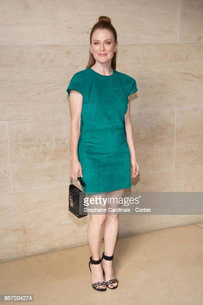 Julianne Moore attends the Louis Vuitton show as part of the Paris Fashion Week Womenswear Spring/Summer 2018 at Musee du Louvre on October 3 2017 in...