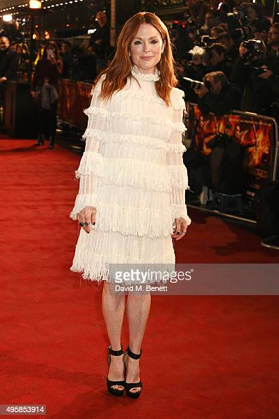 """Julianne Moore attends the UK Premiere of """"The Hunger Games: Mockingjay Part 2"""" at Odeon Leicester Square on November 5, 2015 in London, England."""