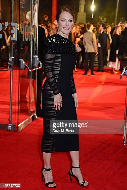 Julianne Moore attends the World Premiere of The Hunger Games Mockingjay Part 1 at Odeon Leicester Square on November 10 2014 in London England