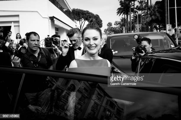 Julianne Moore departs the Martinez Hotel during the 71st annual Cannes Film Festival at on May 8 2018 in Cannes France