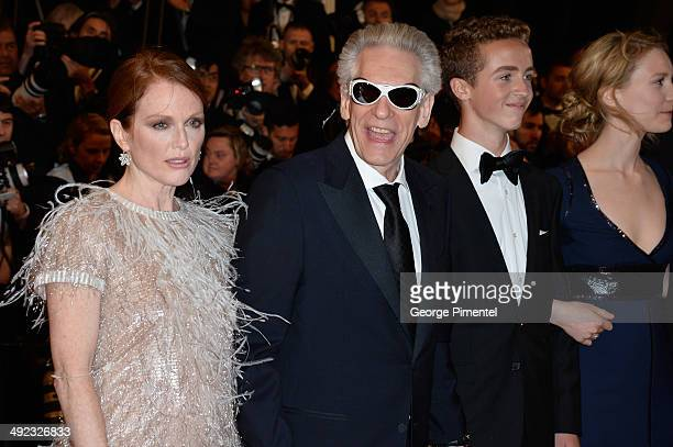 Julianne Moore director David Cronenberg and Evan Bird attend the 'Maps To The Stars' Premiere at the 67th Annual Cannes Film Festival on May 19 2014...