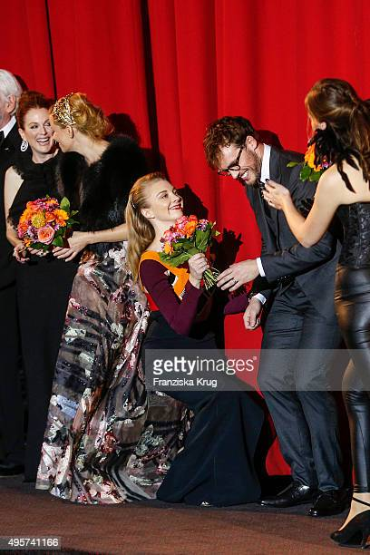 Julianne Moore Jennifer Lawrence Natalie Dormer and Liam Hemsworth attend The Hunger Games Mockingjay Part 2 world premiere on November 04 2015 in...