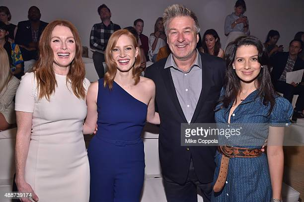 Julianne Moore Jessica Chastain Alec Baldwin and Hilaria Thomas Baldwin attend Ralph Lauren Spring 2016 during New York Fashion Week The Shows at...