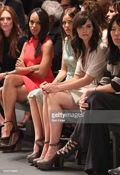 Julianne Moore Kerry Washington Isabel Lucas and Katie Holmes attend the Calvin Klein Spring 2011 fashion show during MercedesBenz Fashion Week at...