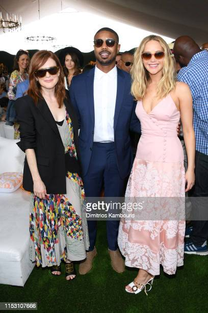 Julianne Moore Michael B Jordan and Jennifer Lawrence attend the 12th Annual Veuve Clicquot Polo Classic at Liberty State Park on June 01 2019 in...