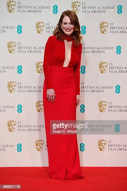 Julianne Moore poses in the winners room at the EE British Academy Film Awards at The Royal Opera House on February 8 2015 in London England