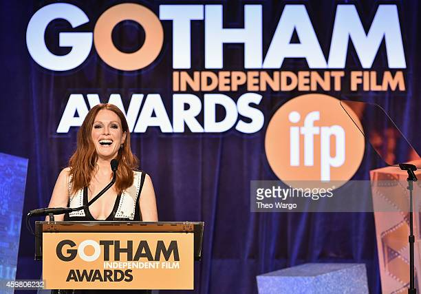 Julianne Moore speaks onstage at IFP's 24th Gotham Independent Film Awards at Cipriani, Wall Street on December 1, 2014 in New York City.