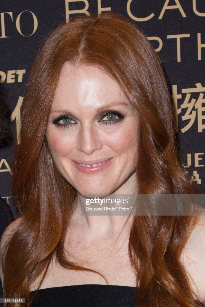 Julianne Moore, the new face of L'Oreal Paris, attends the L'Oreal New Egerie Presentation and Press Conference event at Hotel D'Evreux on November 15, 2012 in Paris, France.