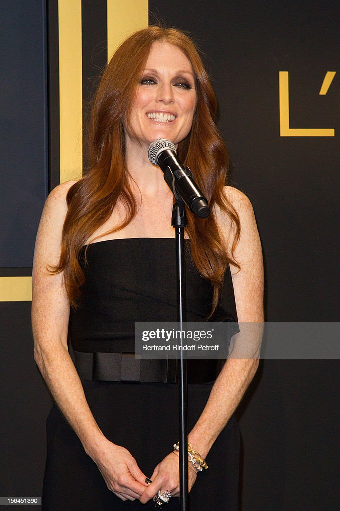 Julianne Moore, the new face of L'Oreal Paris, delivers a speech as she attends the L'Oreal New Egerie Presentation and Press Conference event at Hotel D'Evreux on November 15, 2012 in Paris, France.