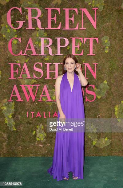 Julianne Moore, wearing Ferragamo, attends The Green Carpet Fashion Awards Italia 2018 at Teatro Alla Scala on September 23, 2018 in Milan, Italy.