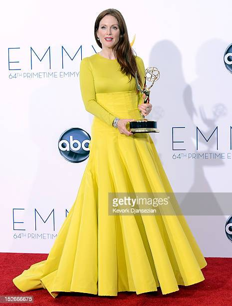 Julianne Moore winner Outstanding Lead Actress in a Miniseries or a Movie poses in the press room during the 64th Annual Primetime Emmy Awards at...