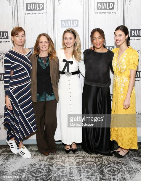 Julianne Nicholson Melissa Leo Dianna Agron Margaret Betts and Margaret Qualley discuss 'Novitiate' at Build Studio on October 26 2017 in New York...