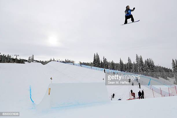Julianne O'Neill competes in the qualifying round of the FIS Snowboard World Cup 2017 in the Ladies' Snowboard Big Air at The Toyota US Grand Prix at...