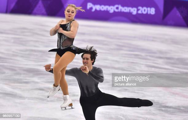 Julianne Seguin and Charlie Bilodeau from Canada in action during the figure skating pairs short program of the 2018 Winter Olympics in the Gangneung...