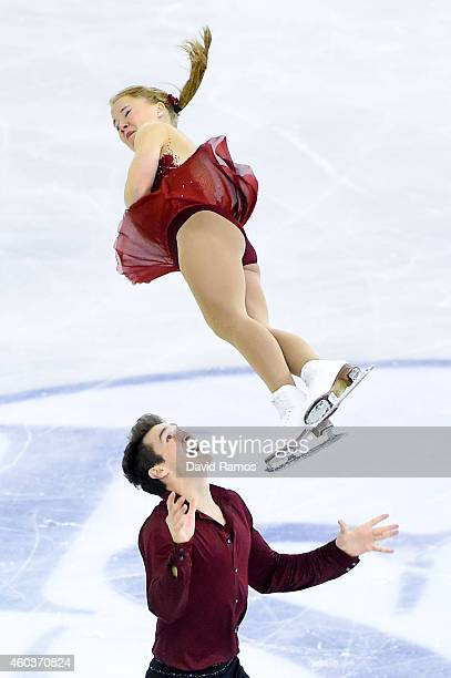 Julianne Seguin and Charlie Bilodeau of Canada compete in the Junior Pair Free Skating Final during day two of the ISU Grand Prix of Figure Skating...