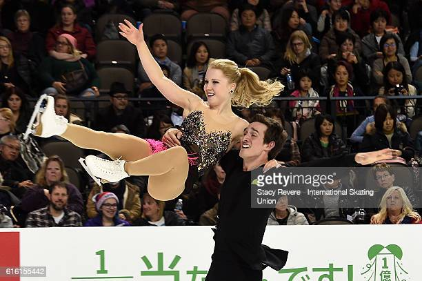 Julianne Seguin and Charlie Blondeau of Canada perform during the Pairs Short Program on day 1 of the Grand Prix of Figure Skating at the Sears...