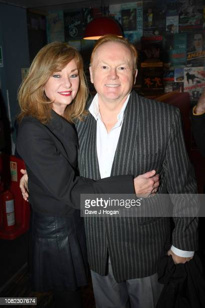 Julianne White and Mike Batt attend the opening night of Chasing Bono at Soho Theatre on December 13 2018 in London England