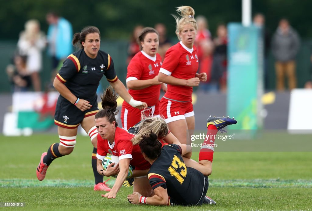 Julianne Zussman of Canada is tackled by Gemma Rowland of Wales during the Women's Rugby World Cup 2017 match between Canada and Wales on August 13, 2017 in Dublin, Ireland.