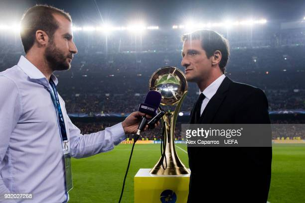 Juliano Belleti attends the media after the UEFA Futsal Cup Finals Zaragoza 2018 draw during the halftime of the UEFA Champions League Round of 16...