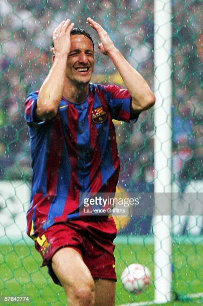 Juliano Belletti of Barcelona celebrates scoring his teams second goal during the UEFA Champions League Final between Arsenal and Barcelona at the...