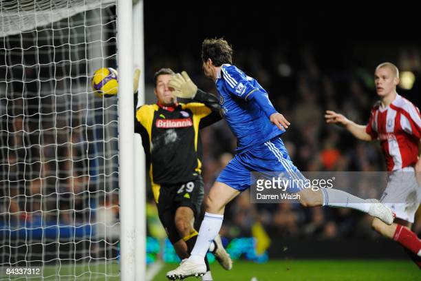 Juliano Belletti of Chelsea scores the equaliser during the Barclays Premier League match between Chelsea and Stoke City at Stamford Bridge on...