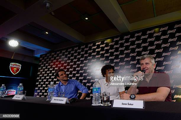 Juliano Belletti Pierre van Hooijdonk and Davor Suker former FIFA World Cup players talks to the media during the press conference presented by...