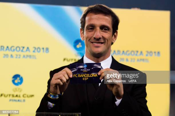 Juliano Belletti shows the name of FC Barcelona during the UEFA Futsal Cup Finals Zaragoza 2018 draw during the halftime of the UEFA Champions League...