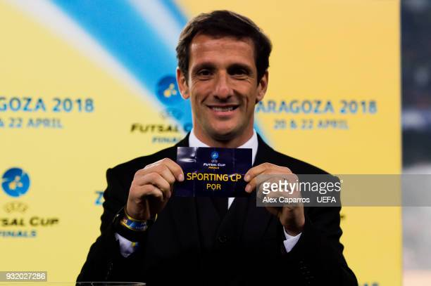 Juliano Belletti shows the name of Sporting CP during the UEFA Futsal Cup Finals Zaragoza 2018 draw during the halftime of the UEFA Champions League...