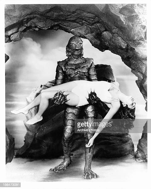 Julie Adams is carried by the creature in publicity portrait for the film 'Creature From The Black Lagoon' 1954