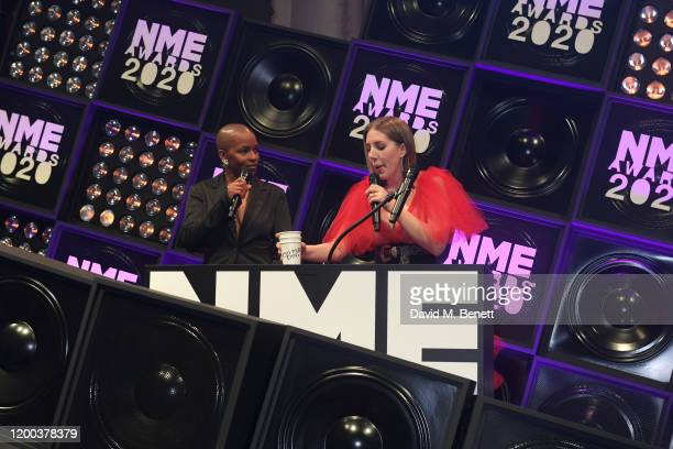Julie Adenuga and Amanda Svensson attend The NME Awards 2020 at the O2 Academy Brixton on February 12 2020 in London England