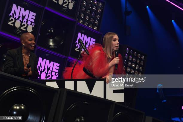 Julie Adenuga and Katherine Ryan attend The NME Awards 2020 at the O2 Academy Brixton on February 12 2020 in London England